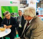 Slovak ambassador in France, Mr. Igor Slobodník during his visit in stand of company JAVYS, a. s., at the WNE in Paris, with Mr. Anton Masár, Vice-Chairman of the Board of Directors, temporarily authorized to act as a CEO.